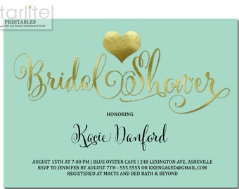 Bridal Shower Invitation Mint and Gold, Mint and Gold Bridal Shower Invitation, Bridal Shower Invitation Heart Gold and Mint, Mint Green