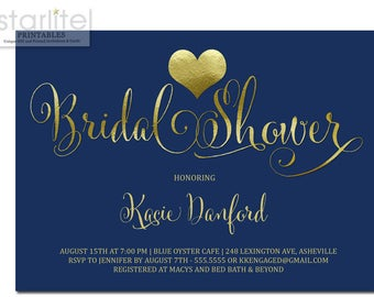 Bridal Shower Invitation Navy and Gold, Navy and Gold Heart Bridal Shower Invitation, Bridal Shower Invitation Navy and Gold Printable