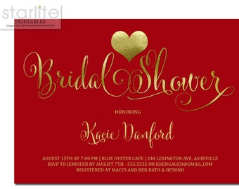 Bridal Shower Invitation Red and Gold, Red and Gold Bridal Shower Invitation, Holiday Bridal Shower Invite, Christmas Bridal Shower Invites