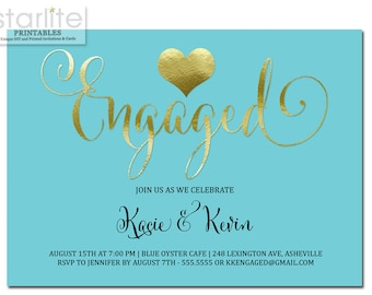 Turquoise and Gold Engagement Party Invitation, Gold Heart Engaged Invitation Turquoise Blue, Engagement Announcement Invite, Printable