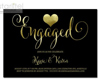 Engagement Party Invitation Black and Gold, Black and Gold Engaged Announcement Invitation, Black and Gold Heart Engagement Party Invitation