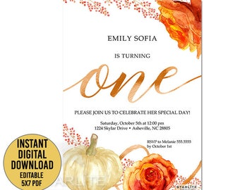 Fall First Birthday Invitation Girl 1st Birthday Invitation Etsy