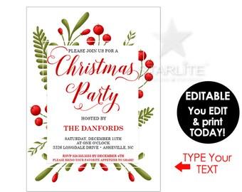 Christmas Party Invitation, Christmas Party Invitation Elegant, EDITABLE Pdf INSTANT DOWNLOAD, Christmas Invitation Printable Download