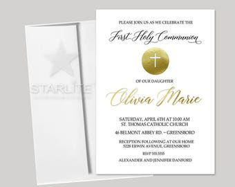 First Communion Invitation for Girls or Boys Printable, Communion Invitation White Gold, Printed Communion Invitations, Digital Personalized