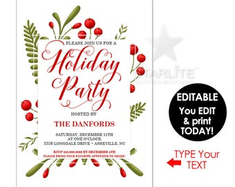 Holiday Party Invitations INSTANT DOWNLOAD EDITABLE, Holiday Party Invitation Template Digital Printable, Holiday Party Invite Editable Pdf