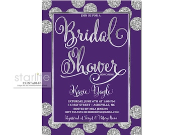 Purple Bridal Shower Invitation, Purple Silver Bridal Shower Invite, Purple Silver Glitter Bridal Shower Invitation, Printable, Printed