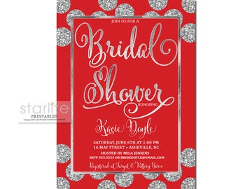 Holiday Bridal Brunch Invitation, Holiday Bridal Shower Invitation, Christmas Bridal Shower Invitation, Red Silver Glitter Shower Invite