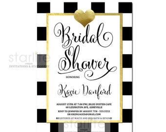 Black and Gold Bridal Shower Invitation, Bridal Shower Invitation Black White Checkers Gold, Bridal Shower Invitation Gold Heart, Printable