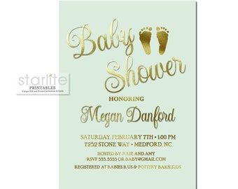 Mint and Gold Baby Shower Invitation, Mint and Gold Baby Shower Invitation Neutral, Baby Shower Invitation Mint Gold Gender Neutral Digital