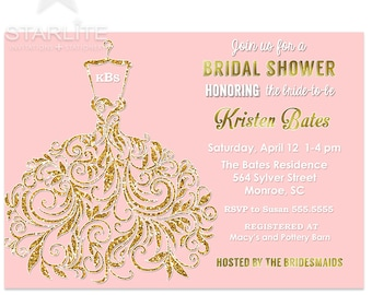 Bridal Shower Invitation Pink Gold Glitter, Pink and Gold Bridal Shower Invitation with Monogram, Printable, Printed Invitations, Brunch