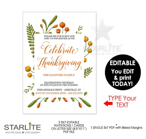 picture about Printable Thanksgiving Invitations titled Thanksgiving Invitation, Thanksgiving Invites Instantaneous