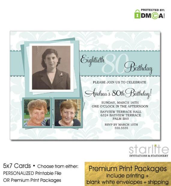 80th Birthday Invitations Photo Invitation For