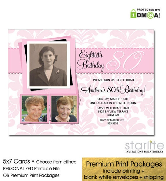 80th Birthday Invitation Printable For