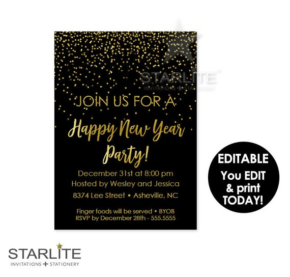 Editable New Year S Eve Party Invitation Instant Download New