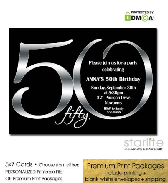 Black And Silver 50th Birthday Invitation Printable Invite ANY AGE Ending In ZERO