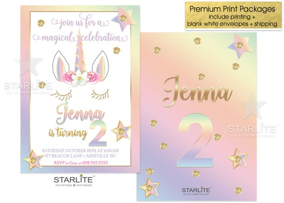 2nd Birthday Invitation Unicorn Girl