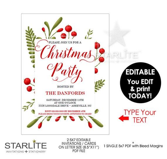 Christmas Party Invitation Editable Christmas Party