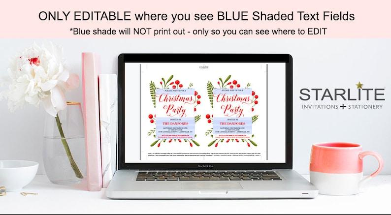 EDITABLE Pdf INSTANT DOWNLOAD Christmas Invitation Printable Download Christmas Party Invitation Elegant Christmas Party Invitation