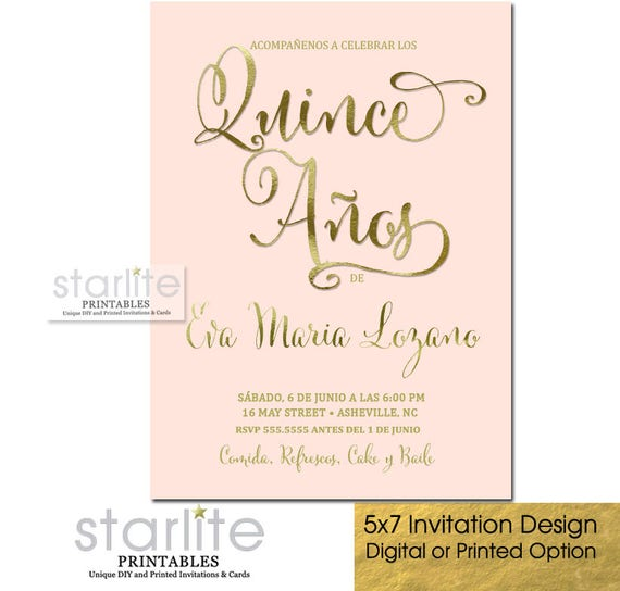 quinceanera invitation pink and gold quince 15 años party