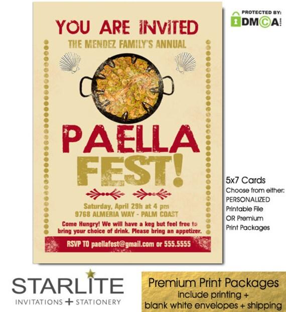 Paella Party Invitation Paella Invitation Spanish Food Party