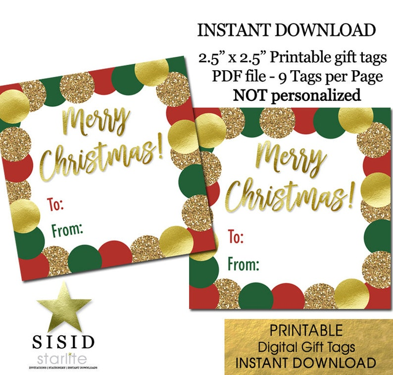 Merry Christmas Gift Tags.Merry Christmas Printable Gift Tags Red Green Gold Christmas Gift Tags Printable Ready To Print Instant Download