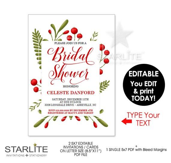 christmas bridal shower invitation christmas bridal invitations