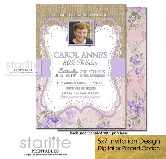 80th Birthday Invitation Photo ANY AGE Women Vintage Picture Printable Printed