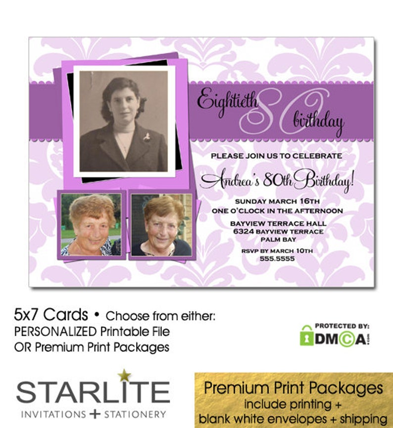 80th Birthday Invitations For Women Invitation