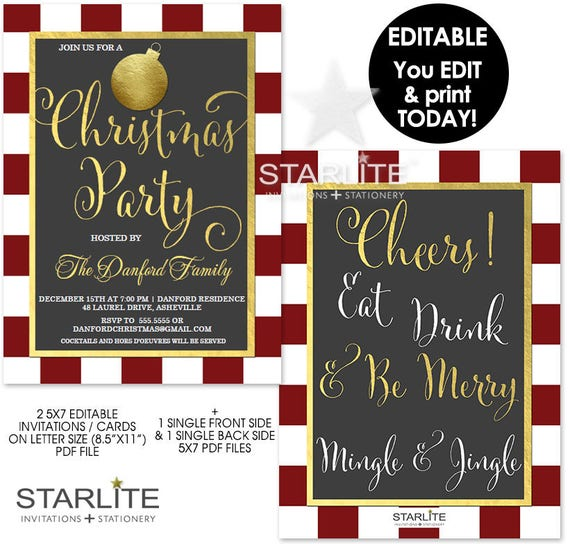 christmas party invitation download editable christmas party