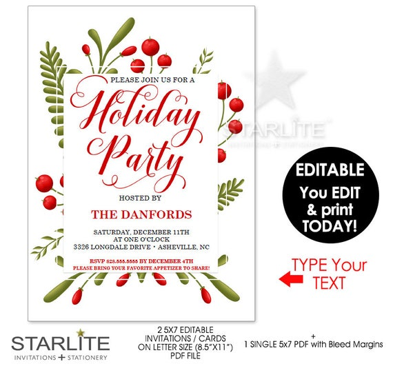 holiday party invitations instant download editable holiday party