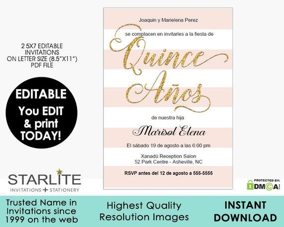 quinceanera invitation printable editable 15 años quinceañera