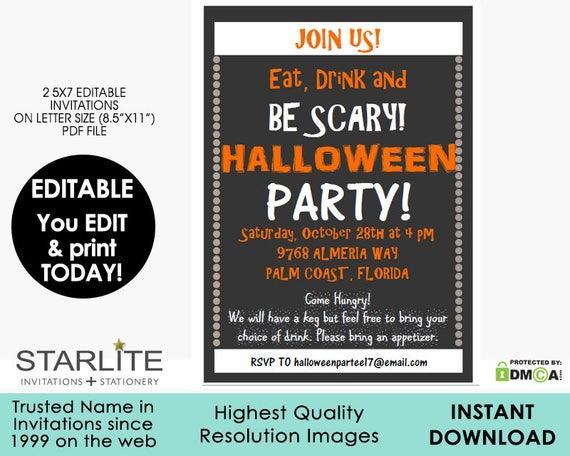 picture regarding Free Printable Halloween Invitations for Adults referred to as EDITABLE Halloween Get together Invitation, Halloween Occasion