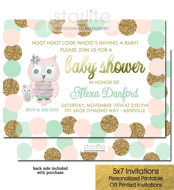 Owl girl baby shower invitation pink mint gold owl girl baby etsy image 0 filmwisefo