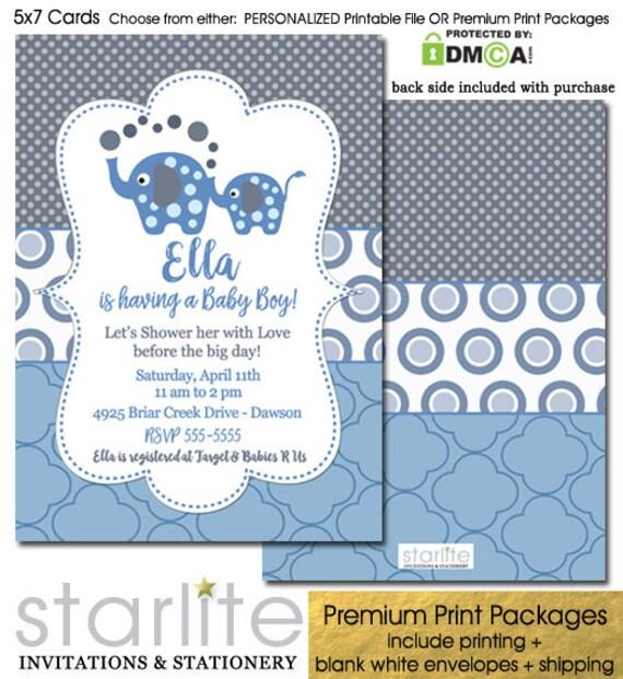 Elephant Baby Shower Invitation Boy Blue Elephant Baby Shower