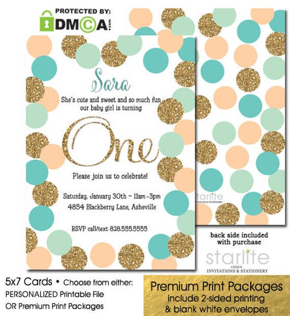 1st Birthday Invitation Girl Peach Mint Turquoise And Gold Glitter Dots