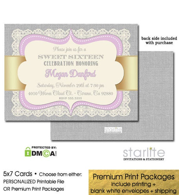 photo relating to Printable Sweet 16 Invitations identified as Lavender Gold Cute 16 Invitation Cute 16 Social gathering