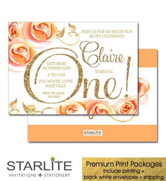 Girl First Birthday Invitation Orange Gold Glitter Floral 1st
