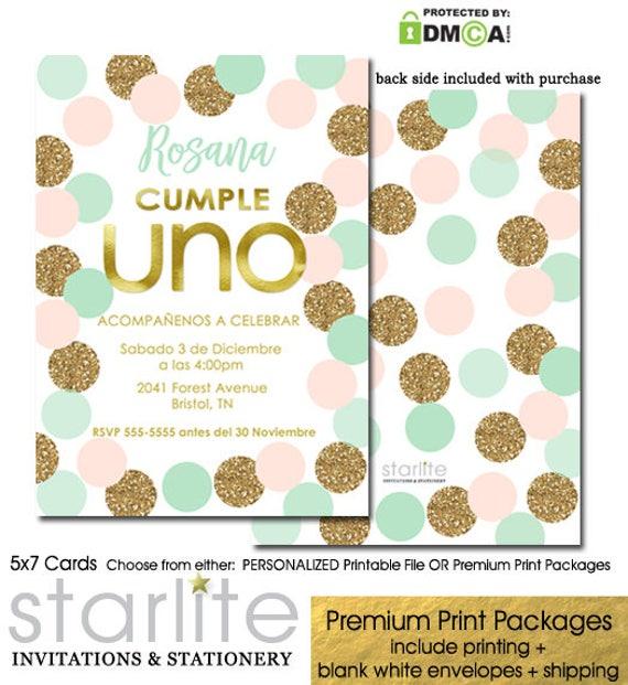 1st Birthday Invitation Girl Spanish Invitaciones De Cumpleanos Cualquier Edad Printable Or Printed