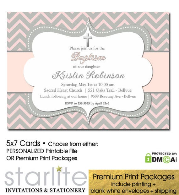 photo relating to Printable Baptism Cards named Red and Gray Baptism Invitation, Woman Baptism Invite