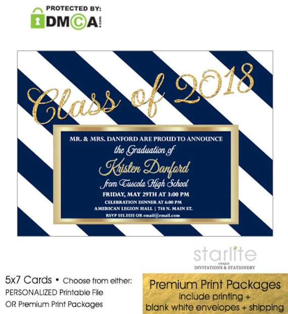 Navy Gold Graduation Party Invitation