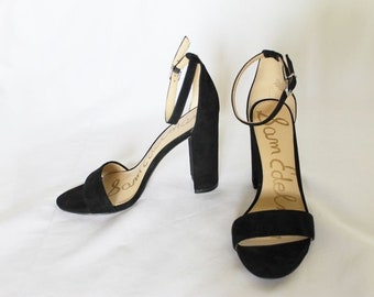 f37d04cfe56c65 SAM EDELMAN Suede Block Heel Black Sandal Open Toe 7.5 37