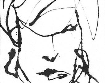 Art Dessin Plume Et Encre Croquis Portrait Femme Visage Etsy