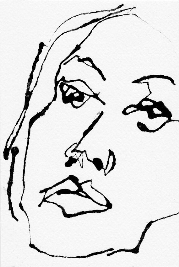 Stylo Et Encre Croquis Dessin Portrait Femme Visage Noir Et Blanc Impression
