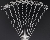 Wavy 5.1 quot Hair Stick with Spiral Head Gold Silver Antique Brass (10pc Set)