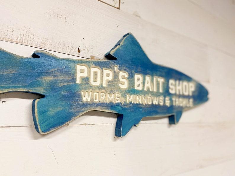 Personalized Bait Shop Wood Sign image 0