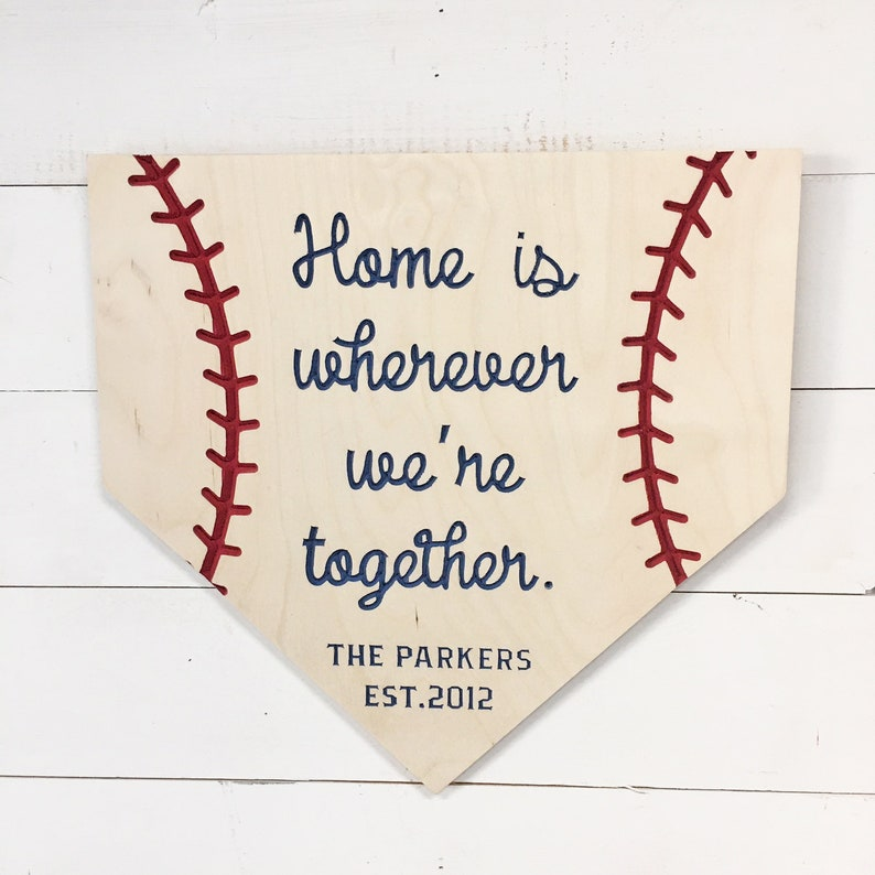 Home is wherever we're together. Personalized Home Plate image 0