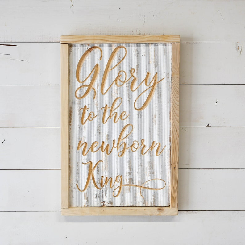 new price  Glory to the Newborn King Sign image 0