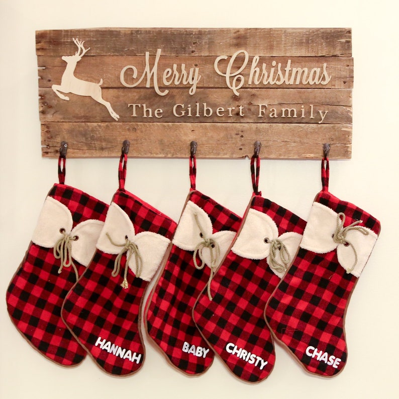 Family Christmas Stocking sign custom made  NEW LOWER PRICE image 0