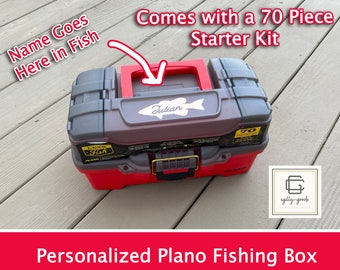 New Red Color - Personalized - LIMITED EDITION Red Plano 1-Tray Fishing Tackle Box with 70 piece tackle