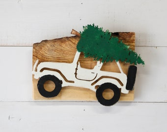 White Jeep Christmas -  cute Christmas sign - inexpensive  - free shipping - one of a kind - art